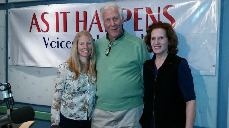 Former CBC host Andy Barrie, along with filmmaker  Lana Slezik (left) and As It Happens host Carol Off (right)