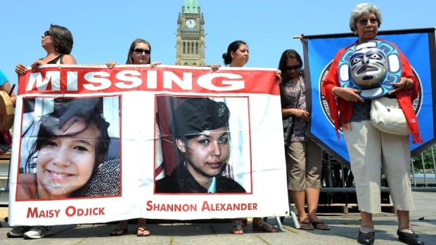 Marchers rally in 2011 on Parliament Hill in solidarity with missing and murdered aboriginal women. An internal report obtained under the Access to Information Act says a promised RCMP database to help solve the problem is long overdue and over budget.