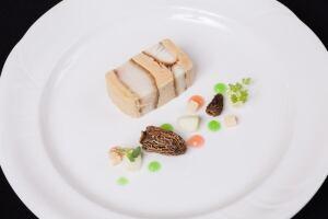 Dish prepared by chef Ryan O'Flynn with morel mushrooms