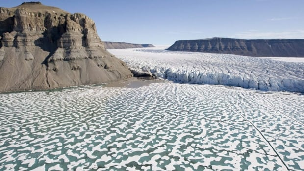 A giant glacier is seen making its way to the waters of Croaker Bay on Devon Island in Baffin Bay, Nunavut. The federal government's new map of Canada appears to show an increase in Arctic sea ice.