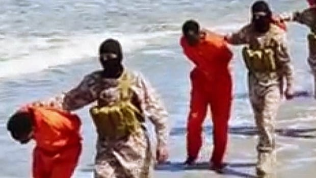 This undated image taken from a video released by ISIS militants on April 19, 2015, appears to show the killing of a group of captured Ethiopian Christians in Libya.