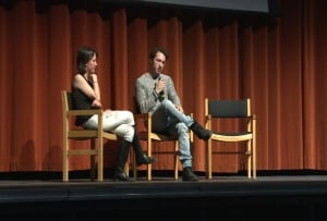 Delilah Saunders on stage at the Spatz Theater with filmmaker Matt Smiley