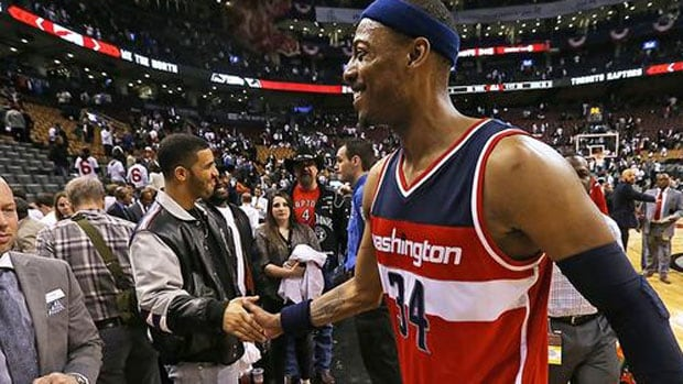 Drake's handshake with Paul Pierce has Raptors fans fuming
