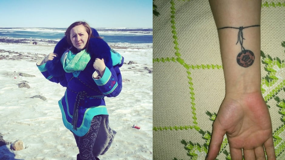 Olivia Ikey Duncan has an 'Eskimo identification tag' tattooed on her forearm.