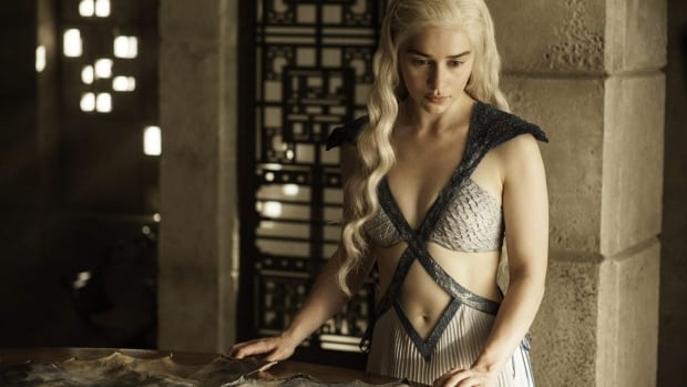 Daenerys Targaryen, portrayed by Emilia Clarke, appears in a scene from season 4 of Game of Thrones. The fifth season of Thrones premiered on April 12, but not before the first four episodes were leaked online.