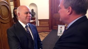 David Coon congratulates David Alward on his consul general appointment