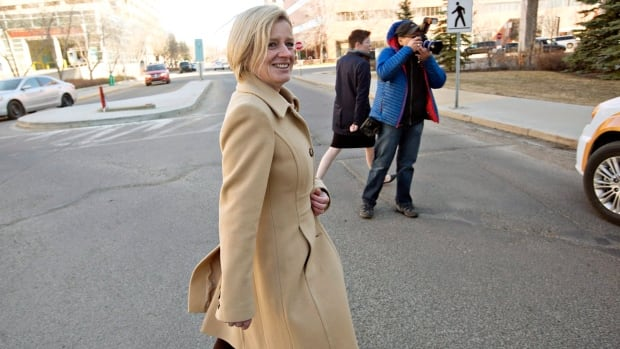 Alberta NDP Leader Rachel Notley leaves a press conference after making a health care announcement while on the campaign trail in Edmonton.