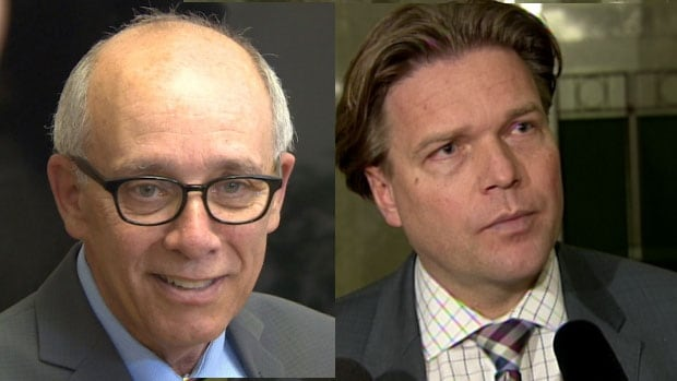 Stephen Mandel, left, and Thomas Lukaszuk, right, are facing stiff battles in their Edmonton ridings.