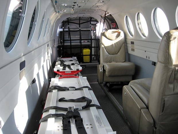 Inside an Alkan Air King Air 350 air ambulance