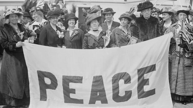 Delegates to the 1915 Women's Peace Conference in The Hague, aboard the MS Noordam. April 1915