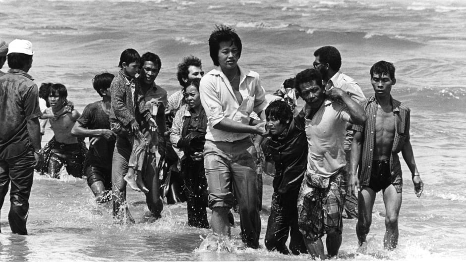 A group refugees (162 persons) arrived on a small boat which sank a few meters from the shore in Malaysia. The flight of Vietnamese refugees began after the fall of Saigon in 1975. In spite of the dangers of unfriendly waters and piracy, tens of thousands took the South China Sea,.