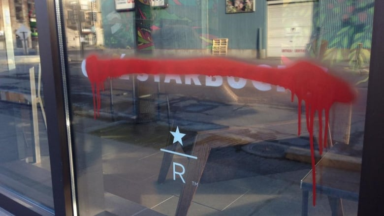 Starbucks Spray Paint Vandalized