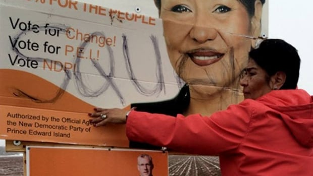 NDP candidate Jacqueline Tuplin's election sign was vandalized with a racial slur.