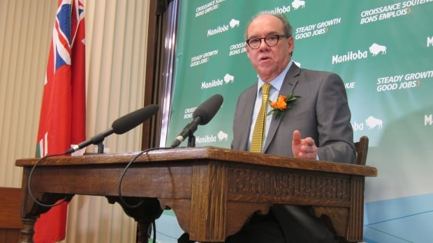 Finance Minister Greg Dewar addresses media on April 30, 2015 at the Manitoba Legislature as the provincial government tables its 2015/2016 budget.