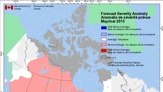 A map showing the North's forest fire forecast for May 2015.