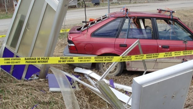 Coalmont's public phone booth was destroyed in March after this vehicle crashed into it as part of what police claim was an ongoing feud.
