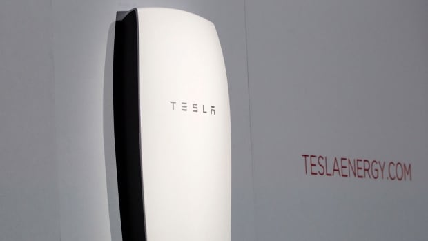 Tesla's newest product, the Powerwall battery, is unveiled in California on April 30. The electric car company is trying to get its battery technology into homes and businesses.