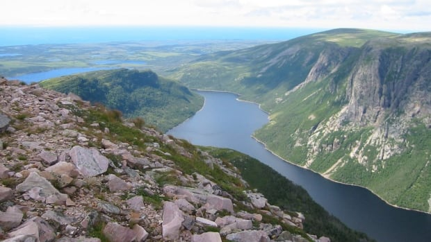 The view from Gros Morne Mountain's summit, looks down at Ten Mile Pond, an inland fjord in western Newfoundland.
