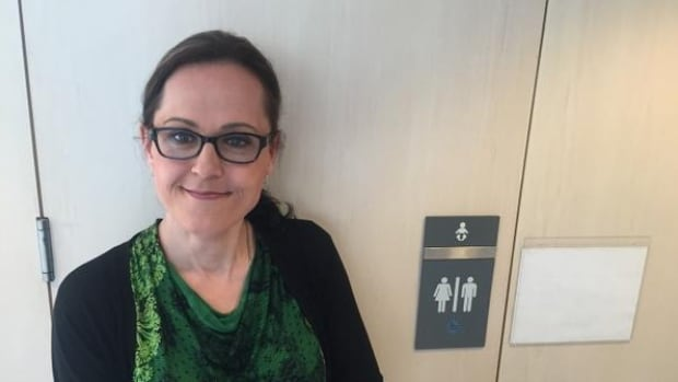 Marni Panas spoke to city councillors to ask that male and female signs on single-stall washrooms be replaced with a simple toilet icon to make them more inclusive.