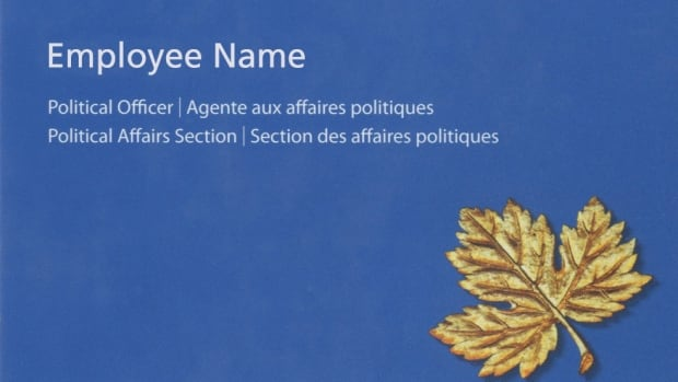 sample of the new business cards issued to canadian high commission staff in the uk