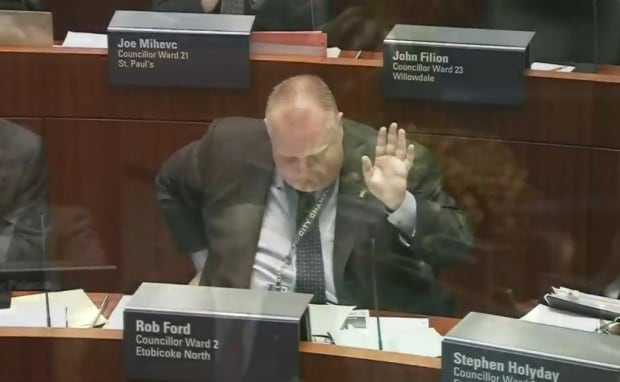Ford acknowledges well-wishers in council.