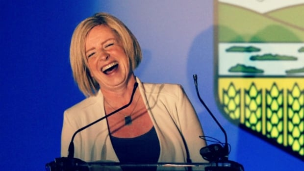 Rachel Notley celebrates on election night, after her NDP swept through the province in to pick up a majority government.
