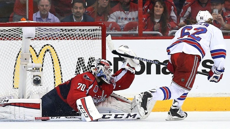 Capitals goalie Braden Holtby turns away Rangers forward Carl Hagelin on a penalty  shot during the third period in Game 4 of the Eastern Conference ...
