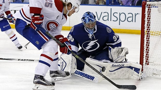 Ben Bishop made 30 saves in Tampa Bay's 2-1 victory in Game 3 against Montreal, and has now won five straight playoff games with a 1.12 goals-against average, along with a 1.43 GAA during an eight-game win streak against the Canadiens.