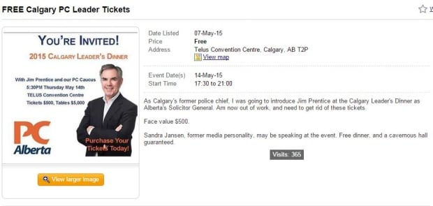 pc leaders dinner mock ad kijiji