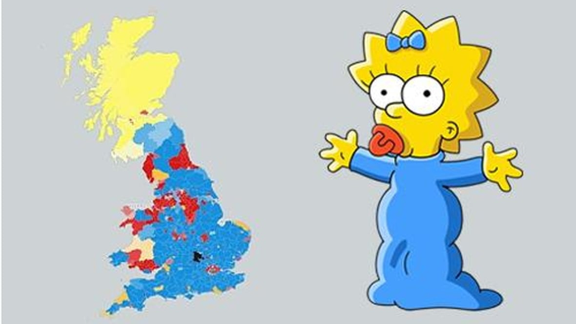 U K Election Map Looks Like Maggie Simpson Says The Internet Trending Cbc News