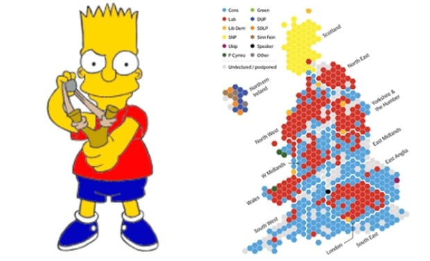 UK Election Map Looks Like Maggie Simpson Says The Internet - Simpsons predictions trump us map