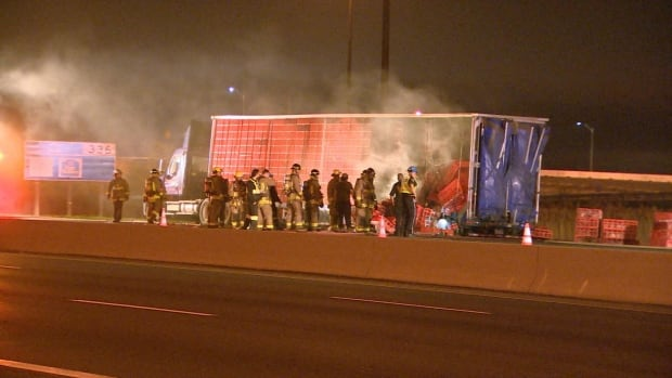 A transport truck carrying crates of live chickens caught fire on Hwy. 401 in Mississauga around 2:45 a.m. Monday.
