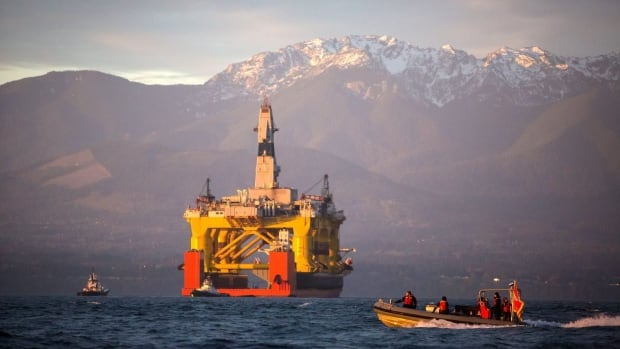 The oil drilling rig, shown here in Port Angeles, Wash., that Royal Dutch Shell will use to drill two exploratory wells in the Arctic Ocean off Alaska's northwest coast. The federal government on Monday gave Royal Dutch Shell the final permit it needs to go ahead with the plan.