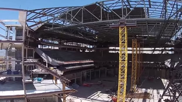 A drone camera provides a tour of the hockey arena currently under construction in Las Vegas.