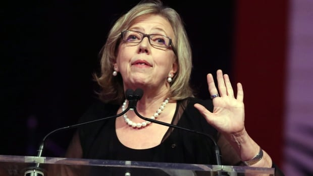 Green Party Leader Elizabeth May speaks at the Annual Parliamentary National Press Gallery dinner Saturday May 9, 2015 in Ottawa. May's controversial speech will be part of her political image going forward, analysts say.
