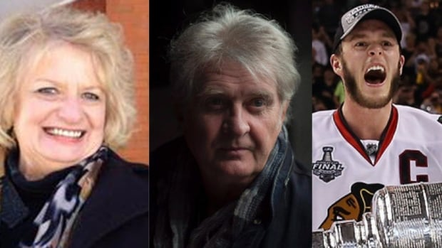 Wilma Derksen, left, Tom Cochrane and Jonathan Toews are among the 12 people being inducted into the Order of Manitoba in July.