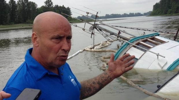 Boat owner Ronald Gibbs says he woke up at 4 a.m. PT to find his fishing boat rapidly sinking.