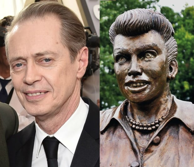 Steve Buscemi and the 'Scary Lucy' statue