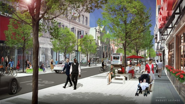 The City of Montreal says the revamped version of Ste-Catherine Street West will include wider, heated sidewalks.