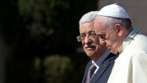 Pope Francis is welcomed by Palestinian President Mahmoud Abbas upon his arrival to the West Bank city of Bethlehem in March 2014. The Vatican officially recognized the 'state of Palestine' in a new treaty finalized Wednesday, immediately sparking Israeli ire and accusations that the move will hurt peace prospects.