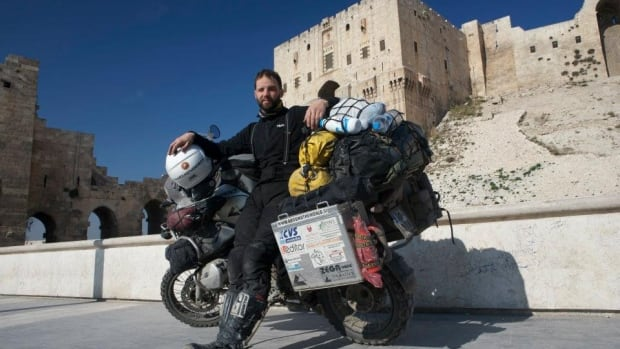 Bostjan Skrlj poses with his motorcycle in Aleppo, Syria in 2009. He travelled with his bike to 41 countries around the world, before it was stolen in Whitehorse on May 10.