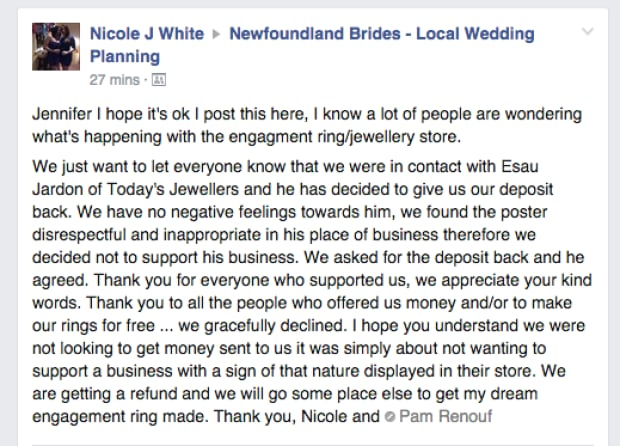 Nicole White engagement ring deposit Facebook post