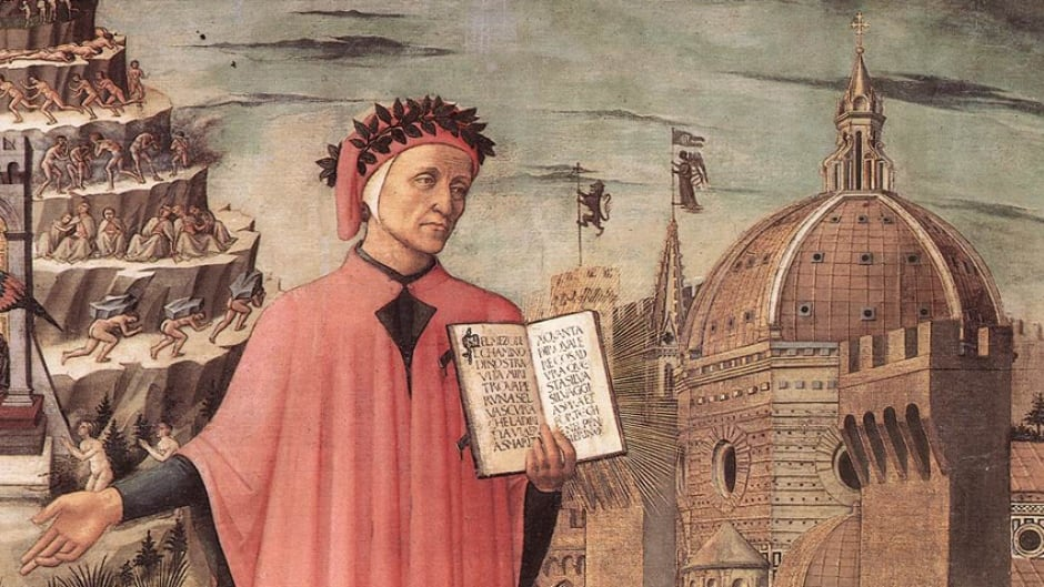 Dante, poised between the mountain of purgatory and the city of Florence, displays the incipit Nel mezzo del cammin di nostra vita in a detail of Domenico di Michelino's painting, Florence, 1465.