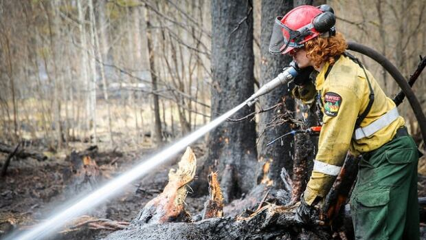 A firefighter douses a hot spot.