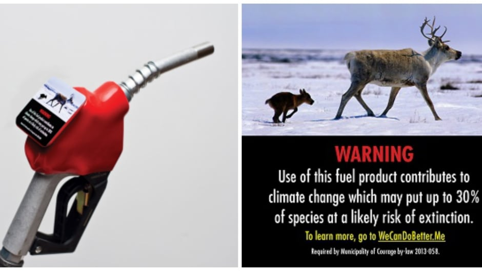 One of Our Horizon's proposed gas pump warning labels.
