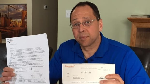 The cheque and letters Andre Blazey received from Service Checkers Canada were all part of a Mystery Shopper scam.