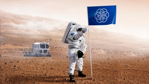This illustration shows how the proposed flag for Earth would be used in a mission to Mars. 'The space travellers ... are representatives of planet Earth,' wrote designer Oskar Pernefeldt.