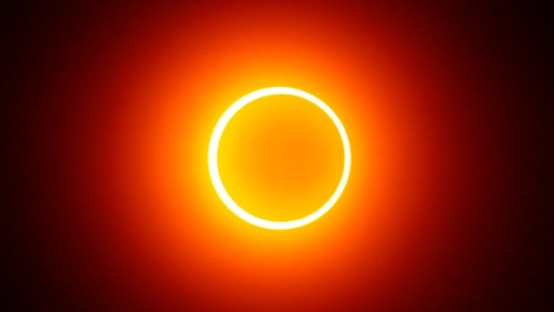 An annular solar eclipse is pictured from Indonesia in 2009. These types of eclipses occur when the moon doesn't quite cover the entire face of the sun. Even though very little sunlight is visible, it's not safe to look at.