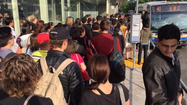 Commuters at Joyce Station remained calm and organized despite long delays caused by the Expo Line SkyTrain shutdown.