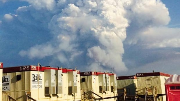 A wildfire burns near the Foster Creek oilsands facility, near Cold Lake.